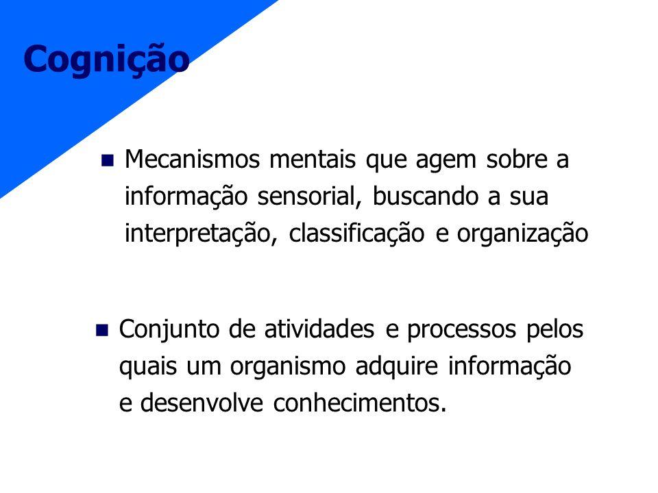 Cognição Conjunto de atividades e processos pelos quais um organismo adquire informação e desenvolve conhecimentos. Mecanismos mentais que agem sobre