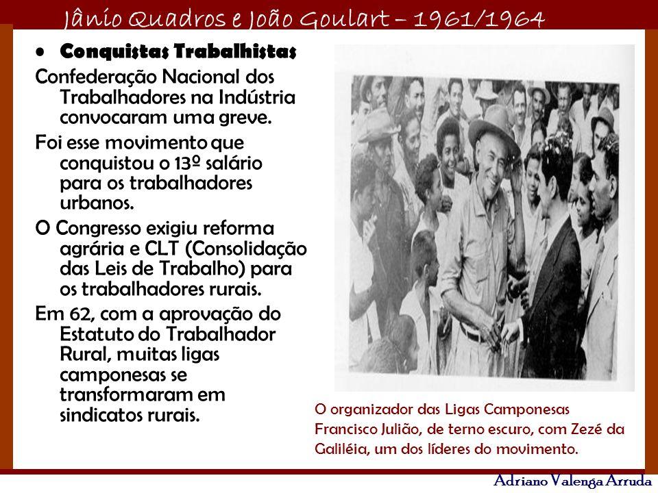 Jânio Quadros e João Goulart – 1961/1964 Adriano Valenga Arruda Conquistas Trabalhistas Confederação Nacional dos Trabalhadores na Indústria convocara