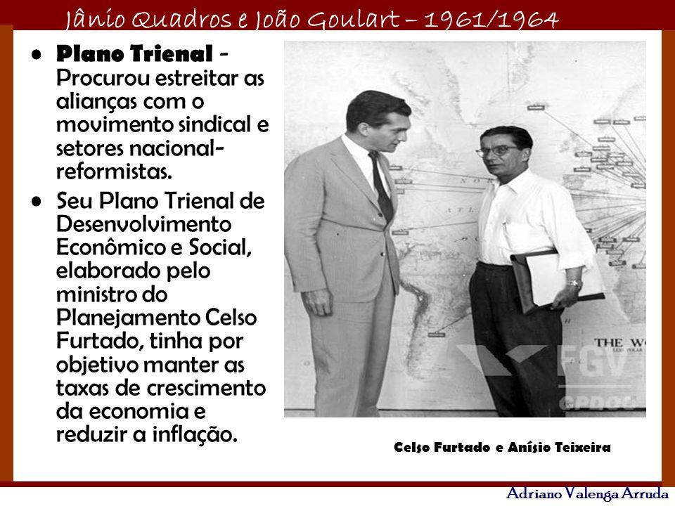 Jânio Quadros e João Goulart – 1961/1964 Adriano Valenga Arruda Plano Trienal - Procurou estreitar as alianças com o movimento sindical e setores naci