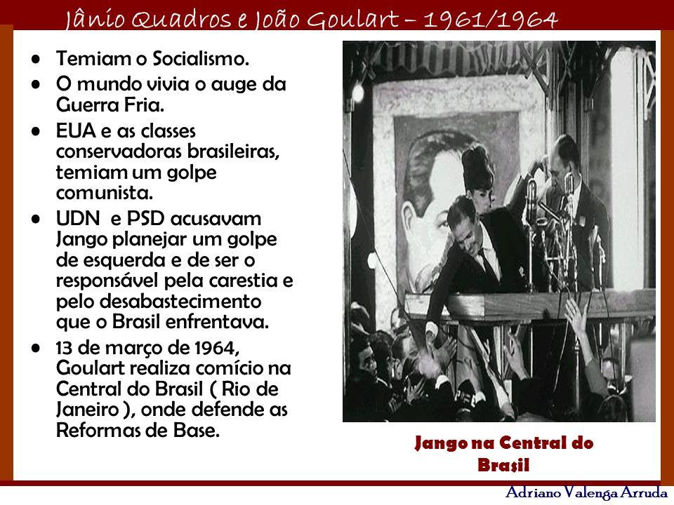 Jânio Quadros e João Goulart – 1961/1964 Adriano Valenga Arruda Temiam o Socialismo. O mundo vivia o auge da Guerra Fria. EUA e as classes conservador