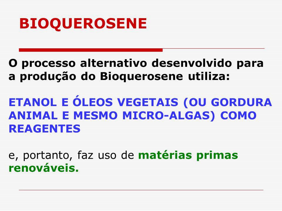 O processo alternativo desenvolvido para a produção do Bioquerosene utiliza: ETANOL E ÓLEOS VEGETAIS (OU GORDURA ANIMAL E MESMO MICRO-ALGAS) COMO REAG