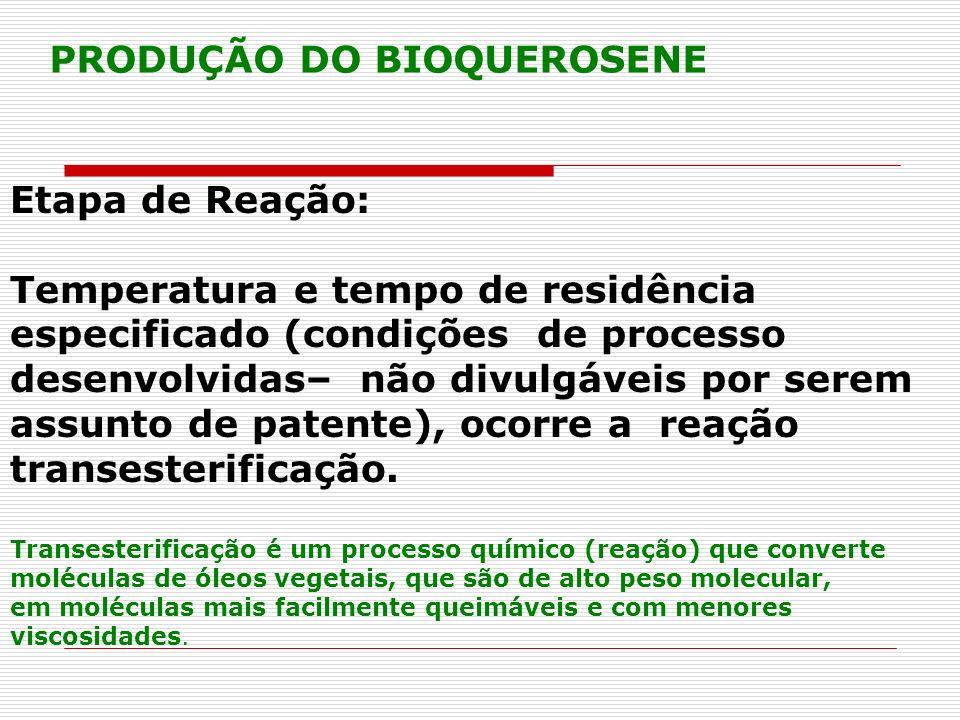 Etapa de Reação: Temperatura e tempo de residência especificado (condições de processo desenvolvidas– não divulgáveis por serem assunto de patente), o