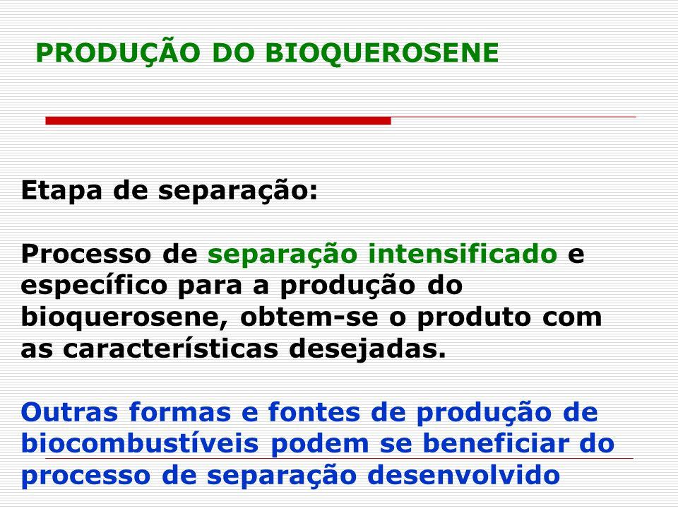 Etapa de separação: Processo de separação intensificado e específico para a produção do bioquerosene, obtem-se o produto com as características deseja