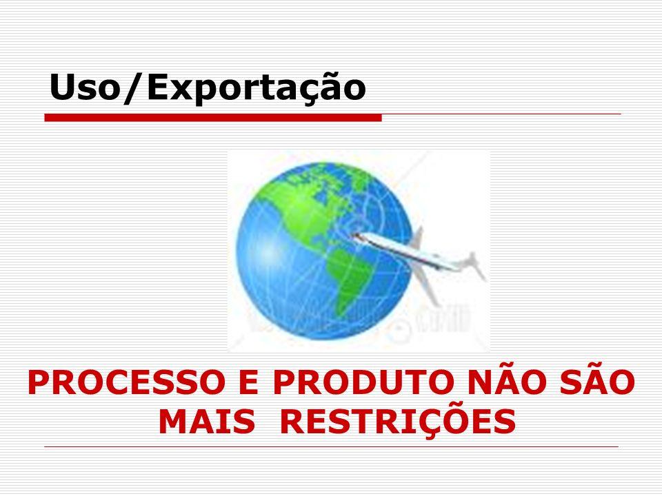 Uso/Exportação PROCESSO E PRODUTO NÃO SÃO MAIS RESTRIÇÕES