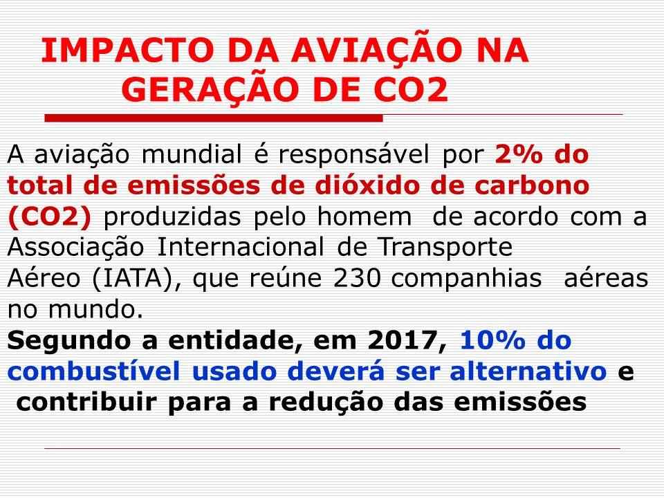 A aviação mundial é responsável por 2% do total de emissões de dióxido de carbono (CO2) produzidas pelo homem de acordo com a Associação Internacional