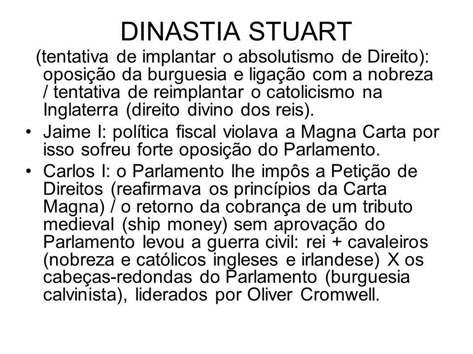 DINASTIA STUART (tentativa de implantar o absolutismo de Direito): oposição da burguesia e ligação com a nobreza / tentativa de reimplantar o catolici