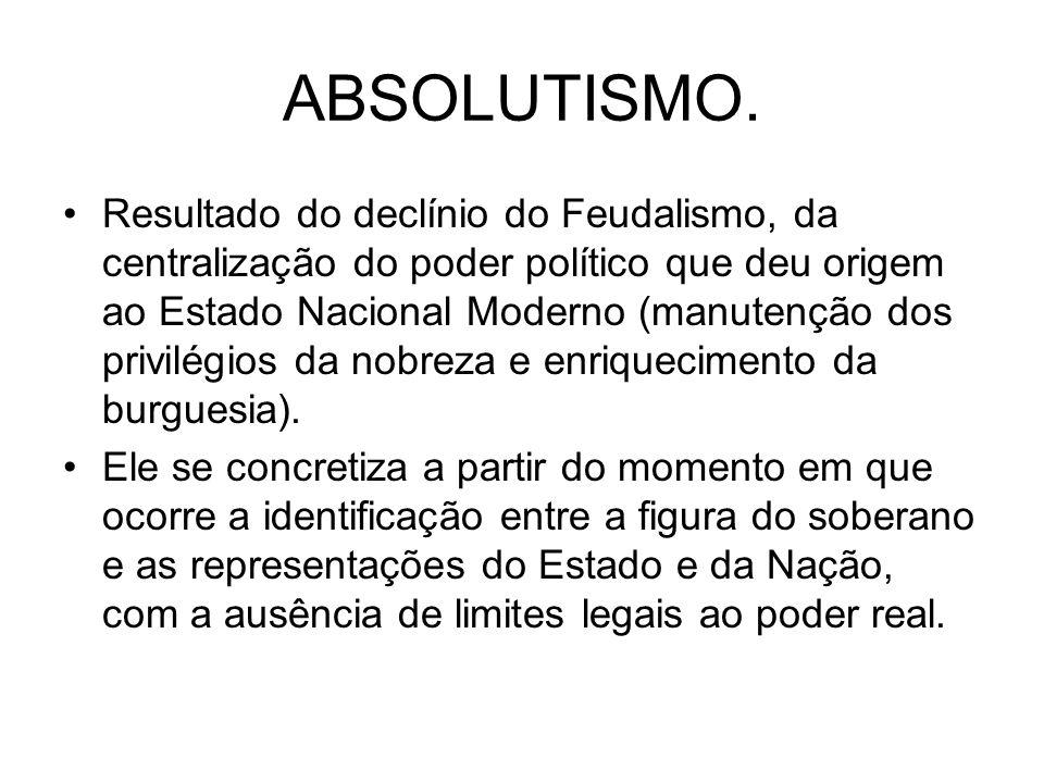ABSOLUTISMO. Resultado do declínio do Feudalismo, da centralização do poder político que deu origem ao Estado Nacional Moderno (manutenção dos privilé