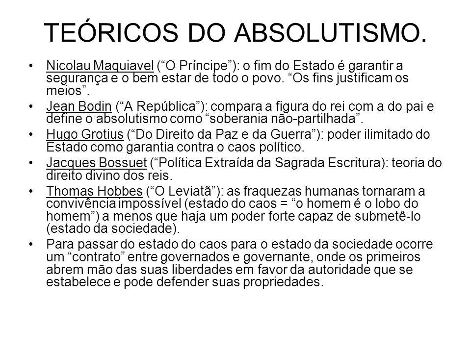 TEÓRICOS DO ABSOLUTISMO. Nicolau Maquiavel (O Príncipe): o fim do Estado é garantir a segurança e o bem estar de todo o povo. Os fins justificam os me