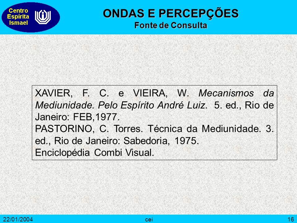 22/01/2004cei16 XAVIER, F. C. e VIEIRA, W. Mecanismos da Mediunidade. Pelo Espírito André Luiz. 5. ed., Rio de Janeiro: FEB,1977. PASTORINO, C. Torres