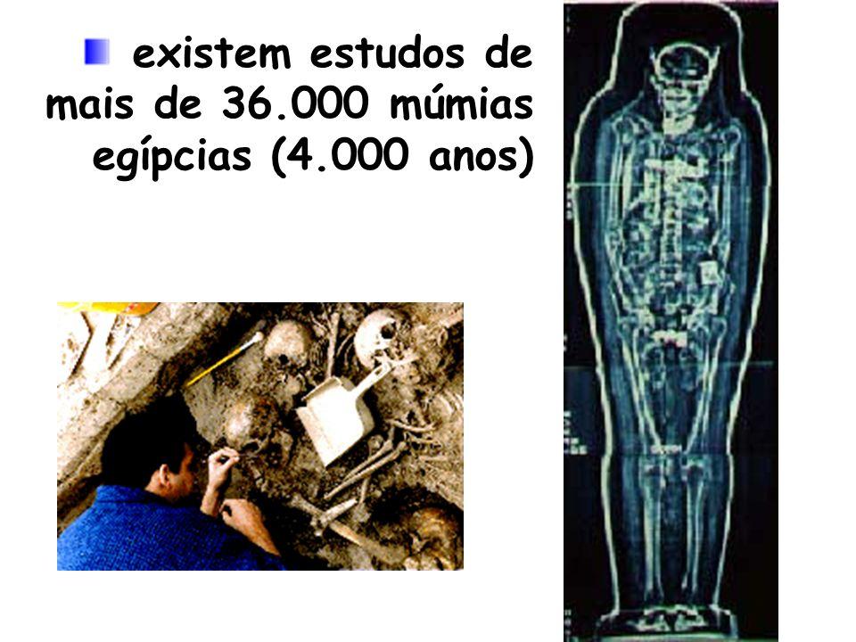 existem estudos de mais de 36.000 múmias egípcias (4.000 anos)