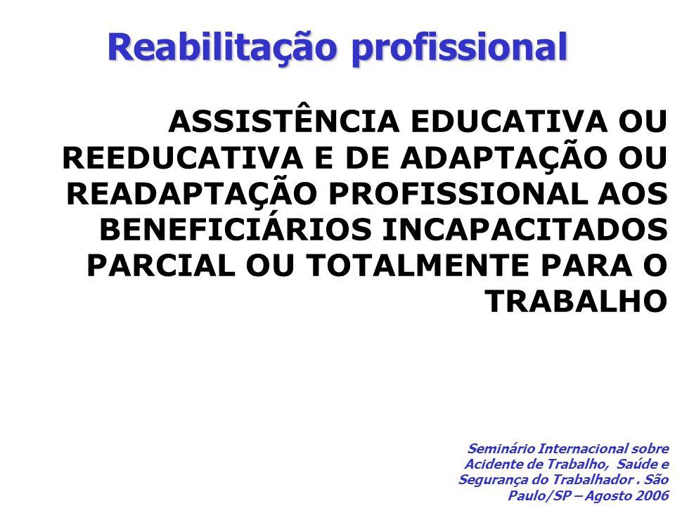 Reabilitação profissional ASSISTÊNCIA EDUCATIVA OU REEDUCATIVA E DE ADAPTAÇÃO OU READAPTAÇÃO PROFISSIONAL AOS BENEFICIÁRIOS INCAPACITADOS PARCIAL OU T