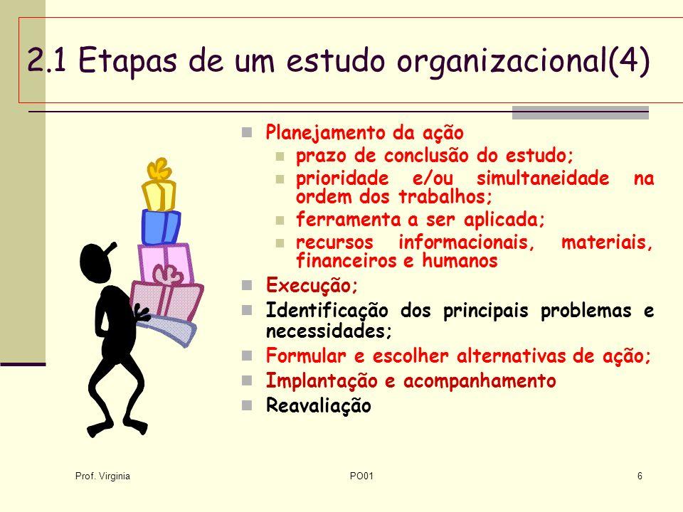 Prof. Virginia PO016 2.1 Etapas de um estudo organizacional(4) Planejamento da ação prazo de conclusão do estudo; prioridade e/ou simultaneidade na or