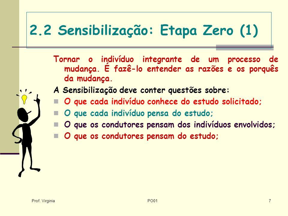 Prof. Virginia PO017 2.2 Sensibilização: Etapa Zero (1) Tornar o indivíduo integrante de um processo de mudança. É fazê-lo entender as razões e os por