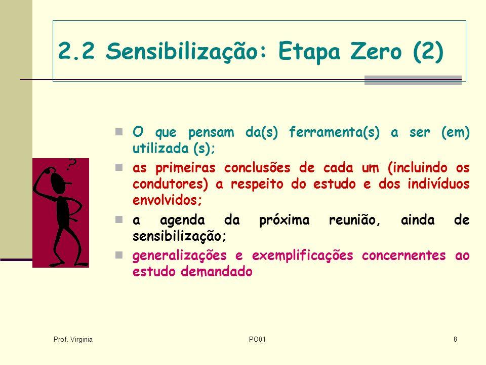 Prof. Virginia PO018 2.2 Sensibilização: Etapa Zero (2) O que pensam da(s) ferramenta(s) a ser (em) utilizada (s); as primeiras conclusões de cada um
