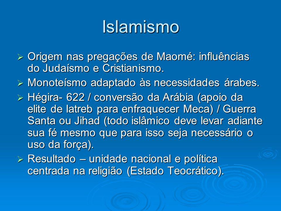 Islamismo Origem nas pregações de Maomé: influências do Judaísmo e Cristianismo. Origem nas pregações de Maomé: influências do Judaísmo e Cristianismo