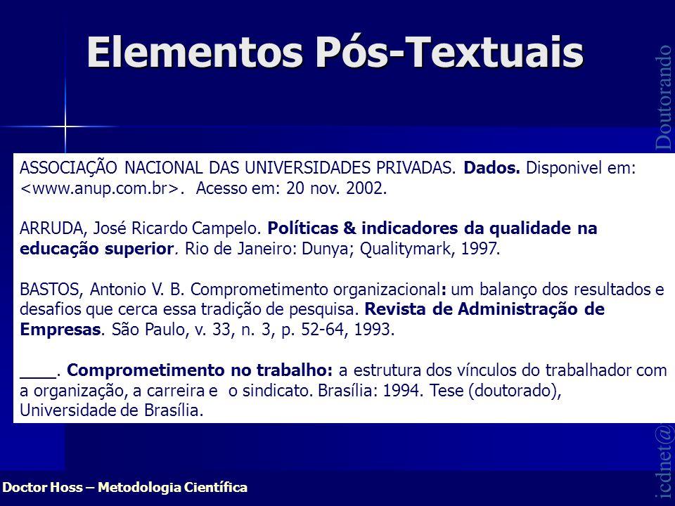 Doctor Hoss – Metodologia Científica icdnet@wopm.com.br HOSS, O. Ms.; Doutorando Elementos Pós-Textuais ASSOCIAÇÃO NACIONAL DAS UNIVERSIDADES PRIVADAS