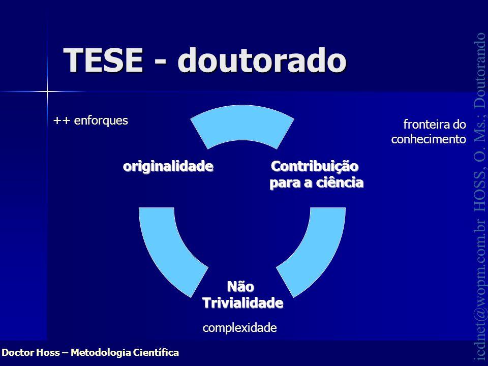 Doctor Hoss – Metodologia Científica icdnet@wopm.com.br HOSS, O. Ms.; Doutorando TESE - doutorado Contribuição para a ciência NãoTrivialidade original