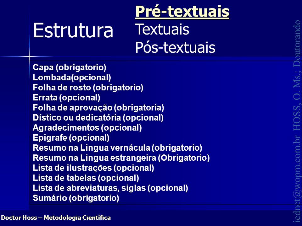 Doctor Hoss – Metodologia Científica icdnet@wopm.com.br HOSS, O. Ms.; Doutorando EstruturaPré-textuais Textuais Pós-textuais Capa (obrigatorio) Lombad