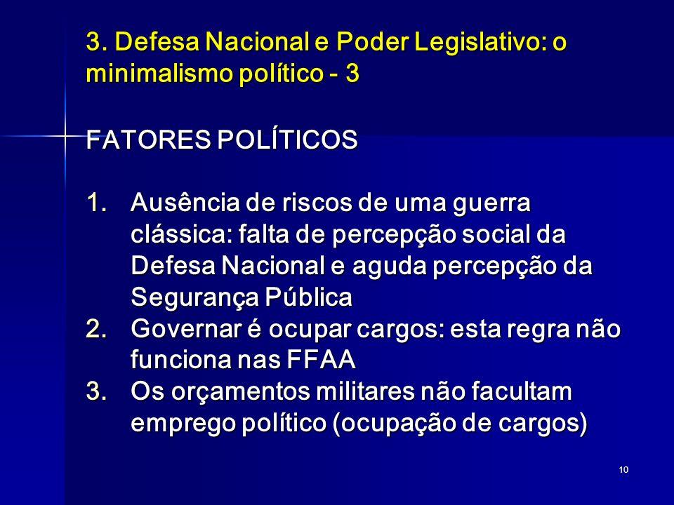 10 3. Defesa Nacional e Poder Legislativo: o minimalismo político - 3 FATORES POLÍTICOS 1.Ausência de riscos de uma guerra clássica: falta de percepçã