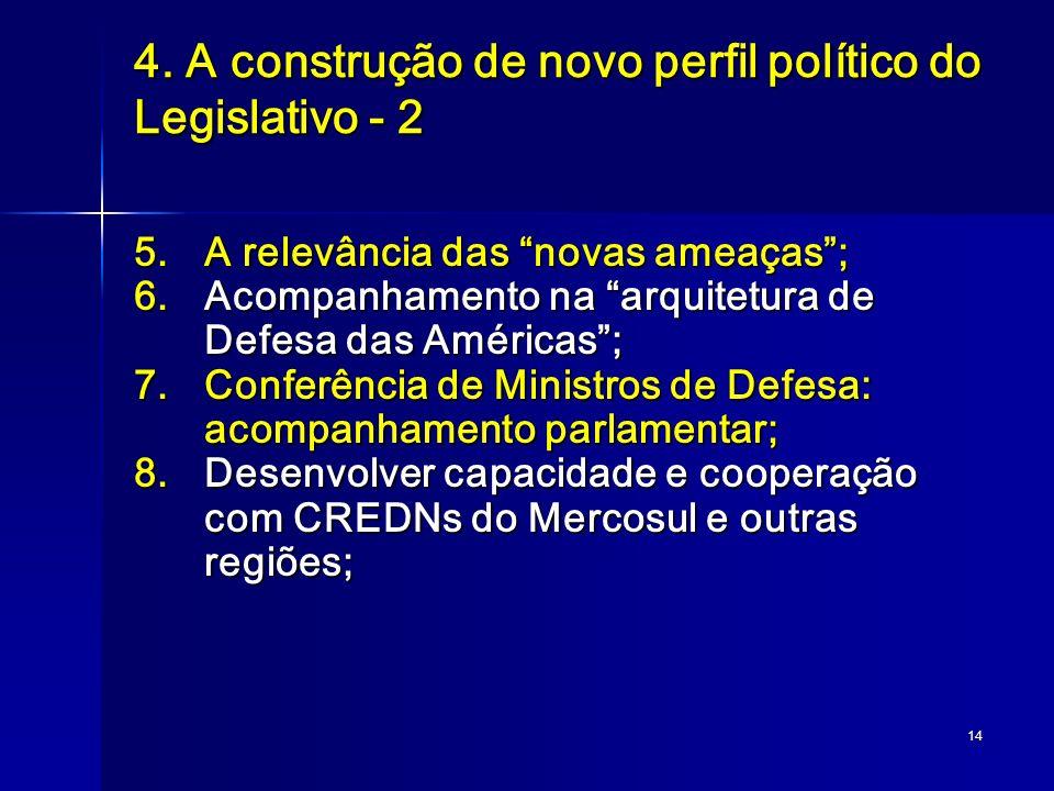 14 4. A construção de novo perfil político do Legislativo - 2 5.A relevância das novas ameaças; 6.Acompanhamento na arquitetura de Defesa das Américas