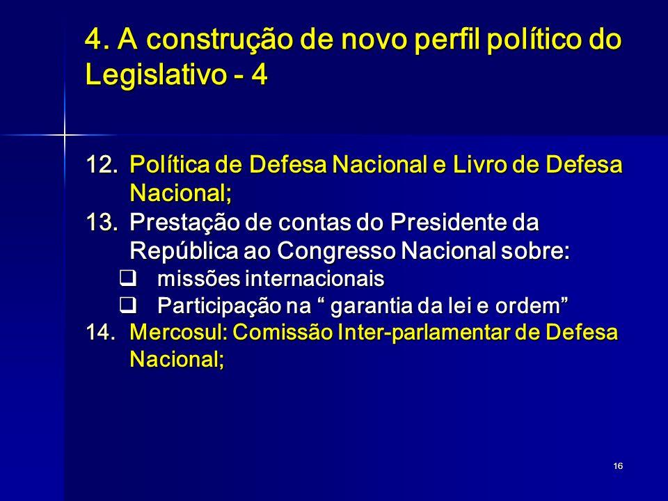 16 4. A construção de novo perfil político do Legislativo - 4 12.Política de Defesa Nacional e Livro de Defesa Nacional; 13.Prestação de contas do Pre