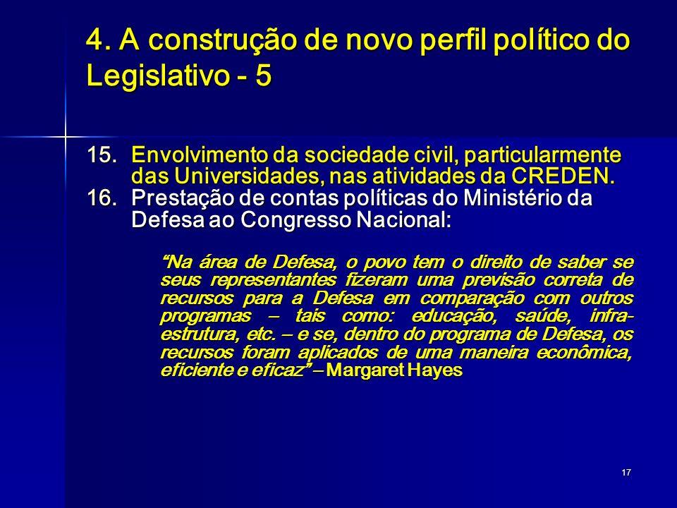 17 4. A construção de novo perfil político do Legislativo - 5 15.Envolvimento da sociedade civil, particularmente das Universidades, nas atividades da