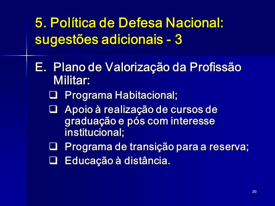 20 5. Política de Defesa Nacional: sugestões adicionais - 3 E.Plano de Valorização da Profissão Militar: Programa Habitacional; Programa Habitacional;