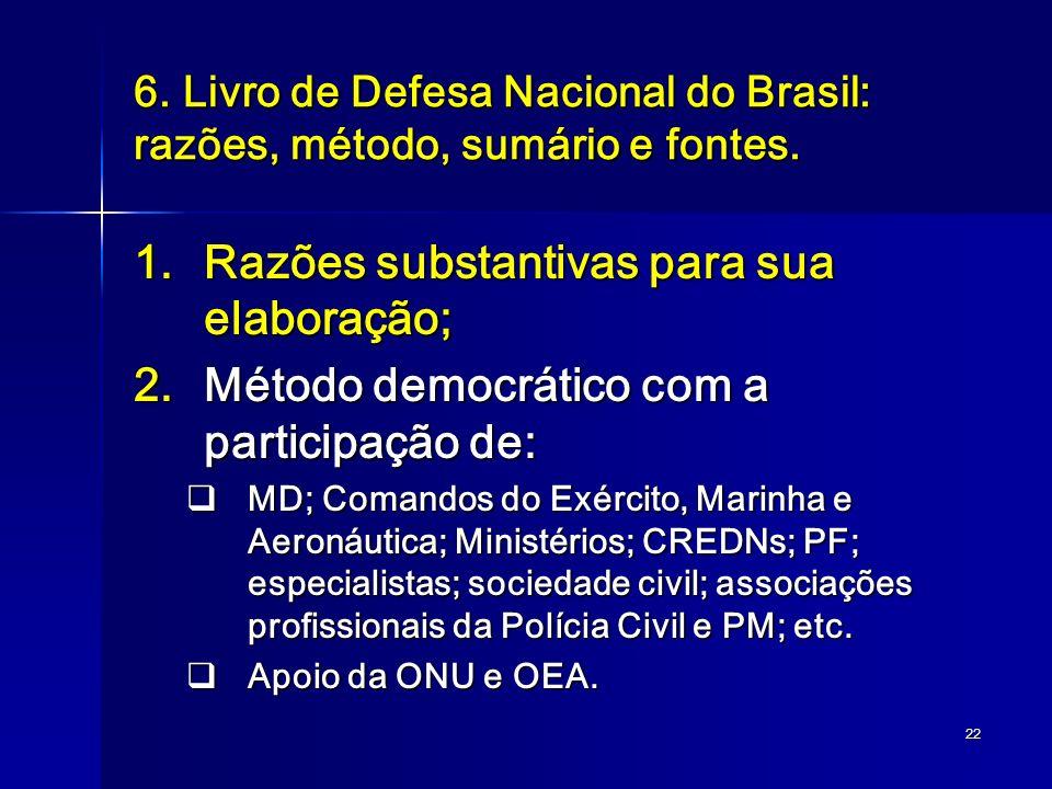 22 6. Livro de Defesa Nacional do Brasil: razões, método, sumário e fontes. 1.Razões substantivas para sua elaboração; 2.Método democrático com a part