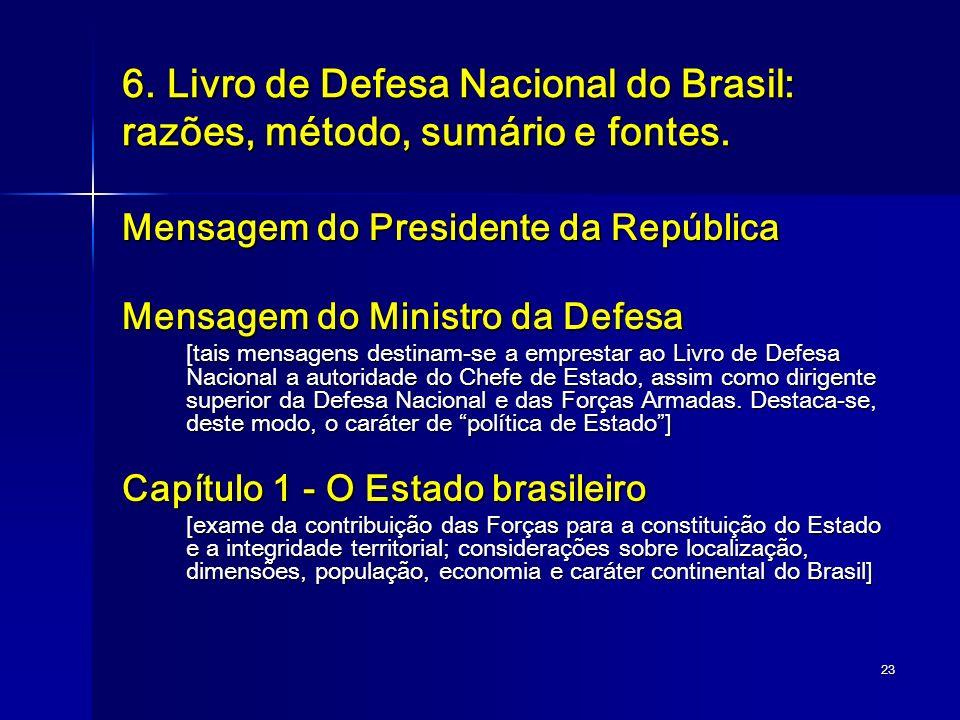 23 6. Livro de Defesa Nacional do Brasil: razões, método, sumário e fontes. Mensagem do Presidente da República Mensagem do Ministro da Defesa [tais m