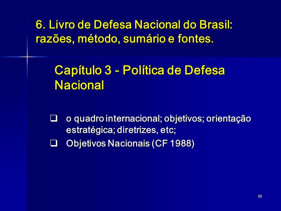 25 6. Livro de Defesa Nacional do Brasil: razões, método, sumário e fontes. Capítulo 3 - Política de Defesa Nacional o quadro internacional; objetivos