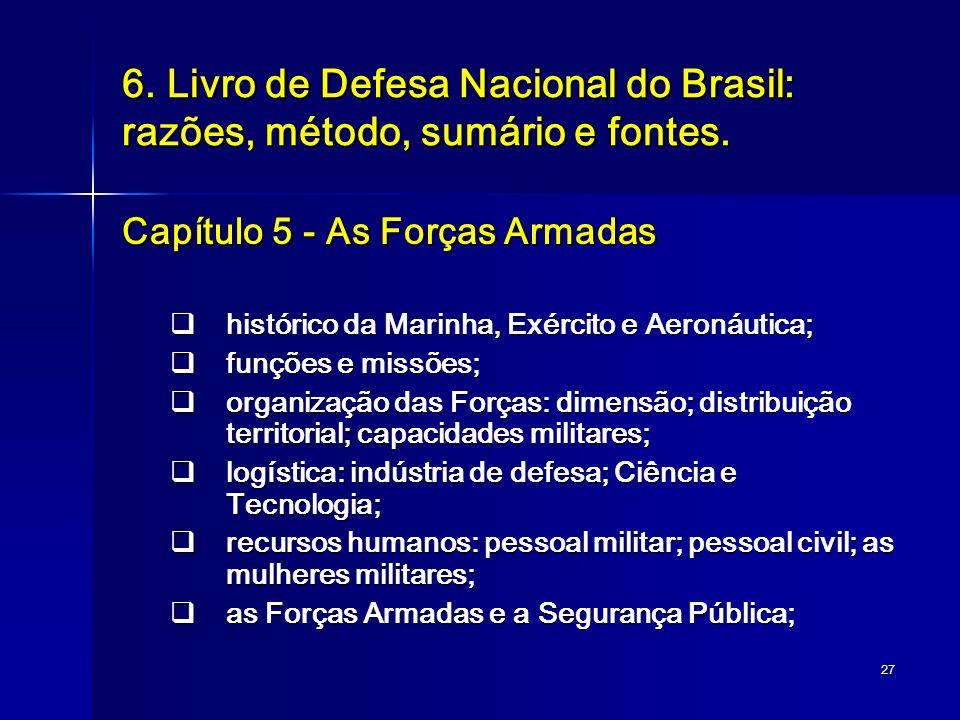27 6. Livro de Defesa Nacional do Brasil: razões, método, sumário e fontes. Capítulo 5 - As Forças Armadas histórico da Marinha, Exército e Aeronáutic