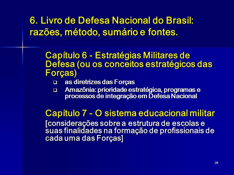 28 6. Livro de Defesa Nacional do Brasil: razões, método, sumário e fontes. Capítulo 6 - Estratégias Militares de Defesa (ou os conceitos estratégicos