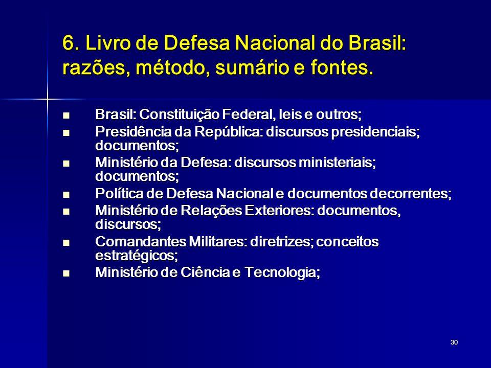 30 6. Livro de Defesa Nacional do Brasil: razões, método, sumário e fontes. Brasil: Constituição Federal, leis e outros; Brasil: Constituição Federal,