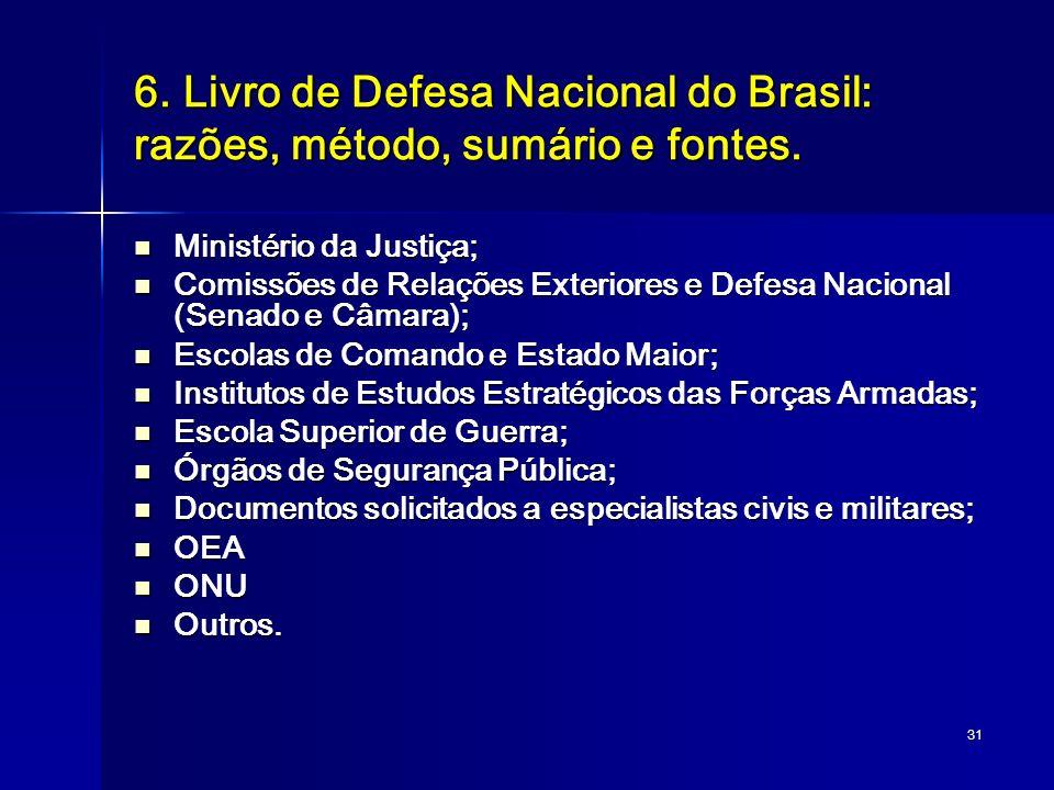 31 6. Livro de Defesa Nacional do Brasil: razões, método, sumário e fontes. Ministério da Justiça; Ministério da Justiça; Comissões de Relações Exteri