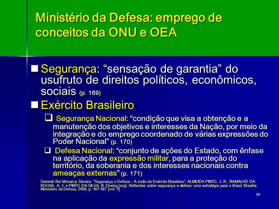 34 Ministério da Defesa: emprego de conceitos da ONU e OEA Segurança: sensação de garantia do usufruto de direitos políticos, econômicos, sociais (p.
