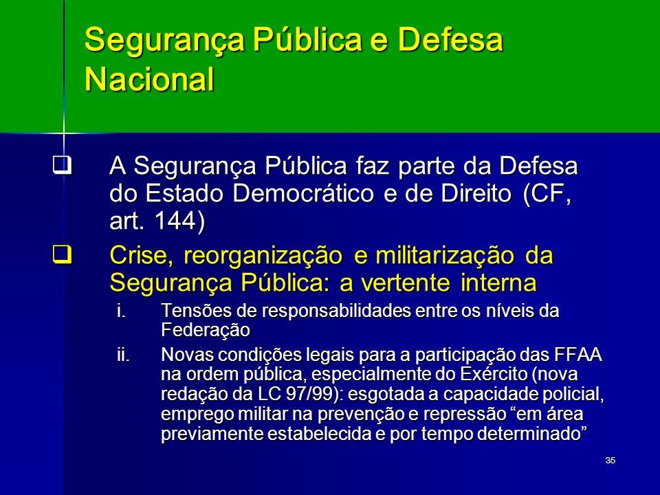 35 Segurança Pública e Defesa Nacional A Segurança Pública faz parte da Defesa do Estado Democrático e de Direito (CF, art. 144) A Segurança Pública f
