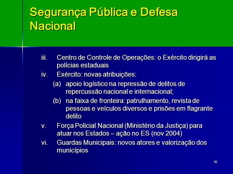 36 Segurança Pública e Defesa Nacional iii.Centro de Controle de Operações: o Exército dirigirá as polícias estaduais iv.Exército: novas atribuições: