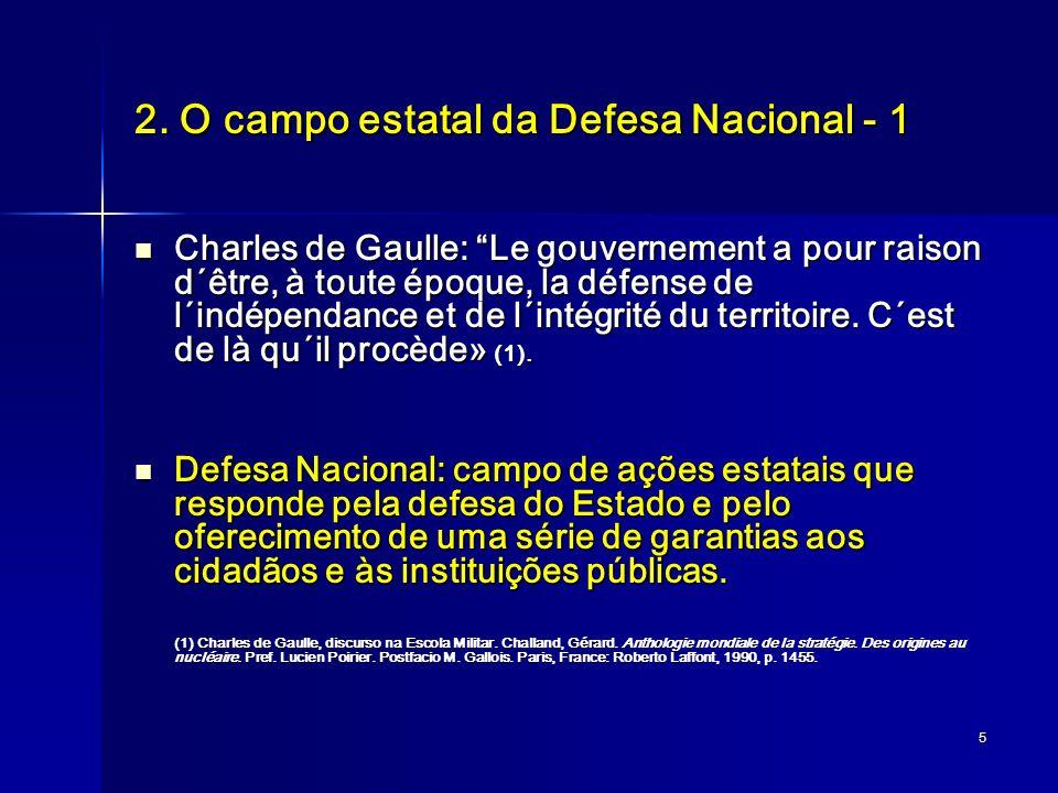 5 2. O campo estatal da Defesa Nacional - 1 Charles de Gaulle: Le gouvernement a pour raison d´être, à toute époque, la défense de l´indépendance et d