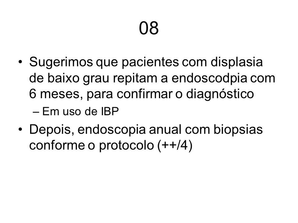 08 Sugerimos que pacientes com displasia de baixo grau repitam a endoscodpia com 6 meses, para confirmar o diagnóstico –Em uso de IBP Depois, endoscop