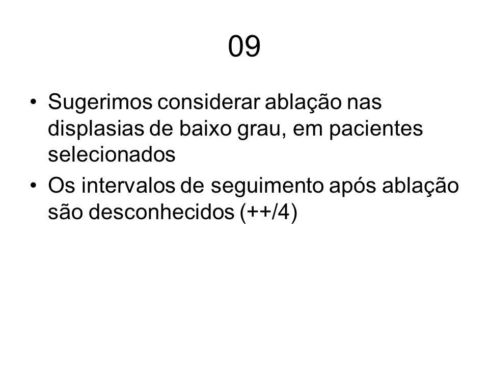 09 Sugerimos considerar ablação nas displasias de baixo grau, em pacientes selecionados Os intervalos de seguimento após ablação são desconhecidos (++