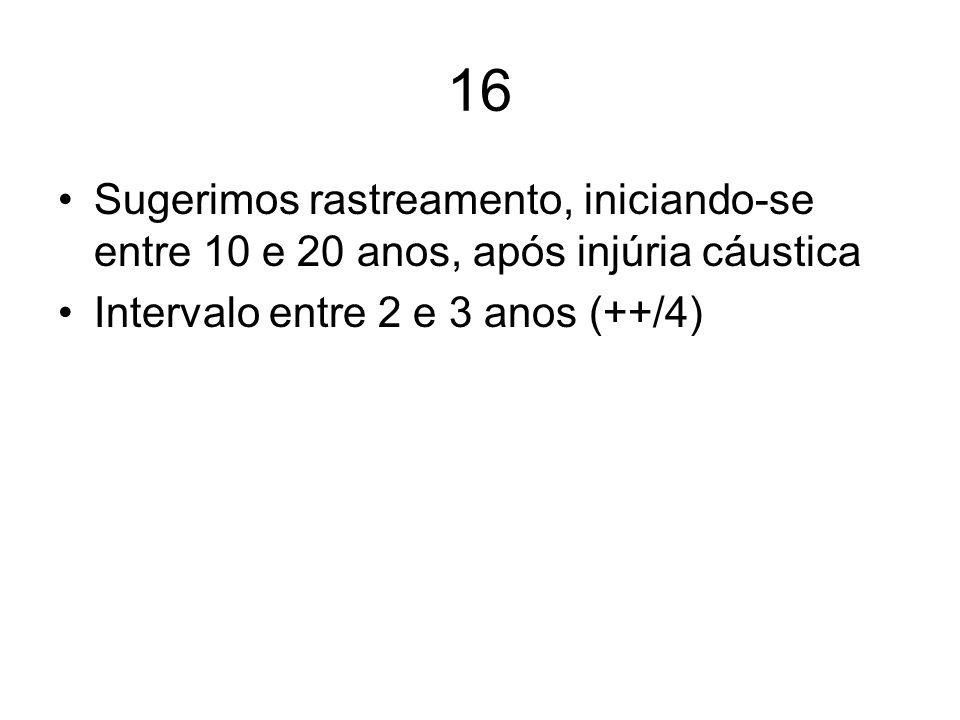 16 Sugerimos rastreamento, iniciando-se entre 10 e 20 anos, após injúria cáustica Intervalo entre 2 e 3 anos (++/4)