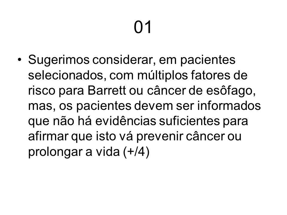 01 Sugerimos considerar, em pacientes selecionados, com múltiplos fatores de risco para Barrett ou câncer de esôfago, mas, os pacientes devem ser info