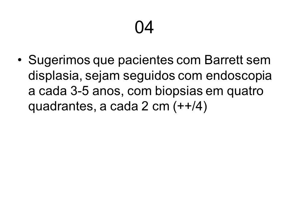 04 Sugerimos que pacientes com Barrett sem displasia, sejam seguidos com endoscopia a cada 3-5 anos, com biopsias em quatro quadrantes, a cada 2 cm (+