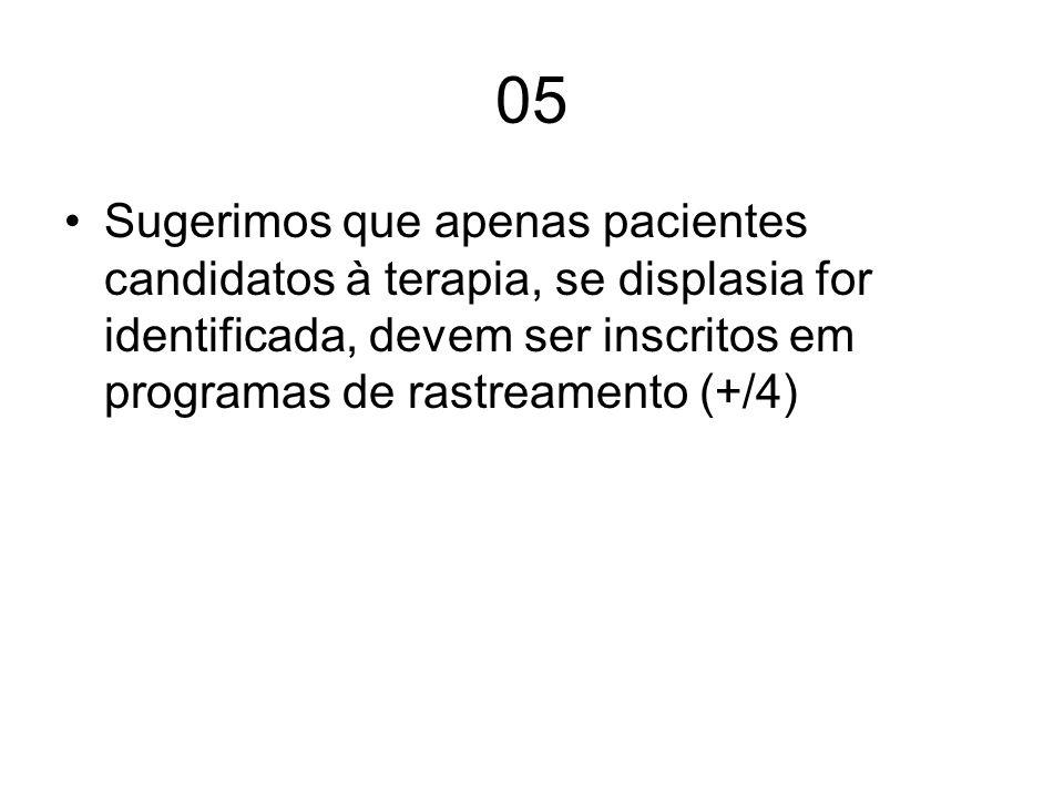 05 Sugerimos que apenas pacientes candidatos à terapia, se displasia for identificada, devem ser inscritos em programas de rastreamento (+/4)