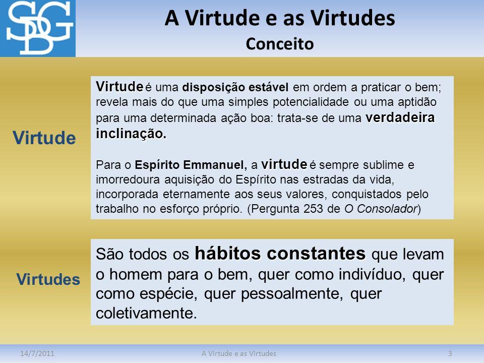 A Virtude e as Virtudes Conceito 14/7/2011A Virtude e as Virtudes3 Virtude verdadeira inclinação. Virtude é uma disposição estável em ordem a praticar