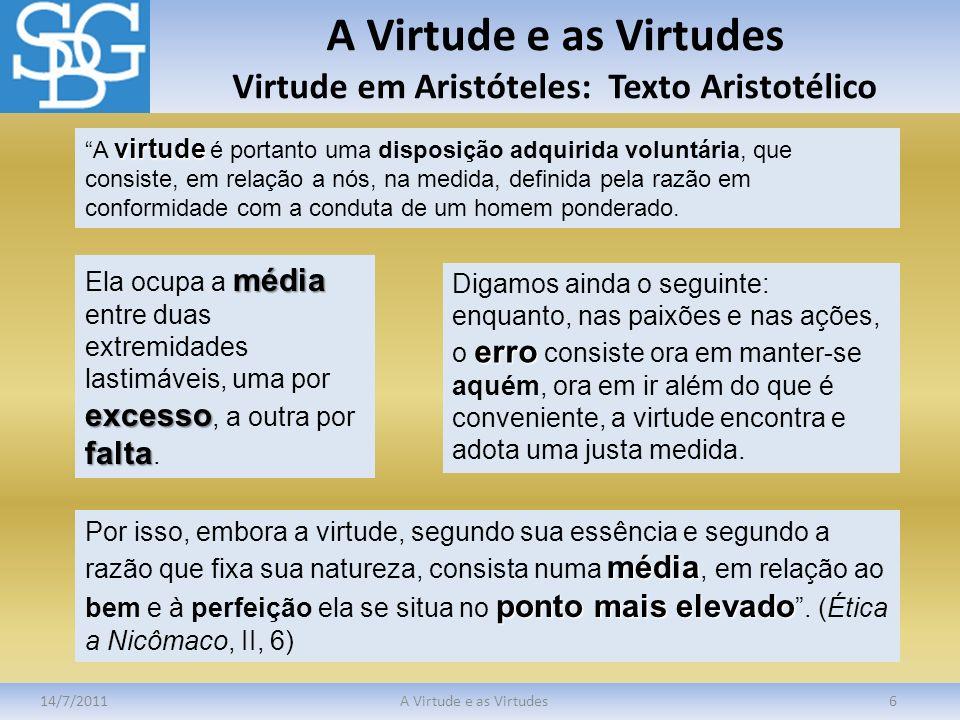 A Virtude e as Virtudes Virtude em Aristóteles: Texto Aristotélico 14/7/2011A Virtude e as Virtudes6 virtude A virtude é portanto uma disposição adqui