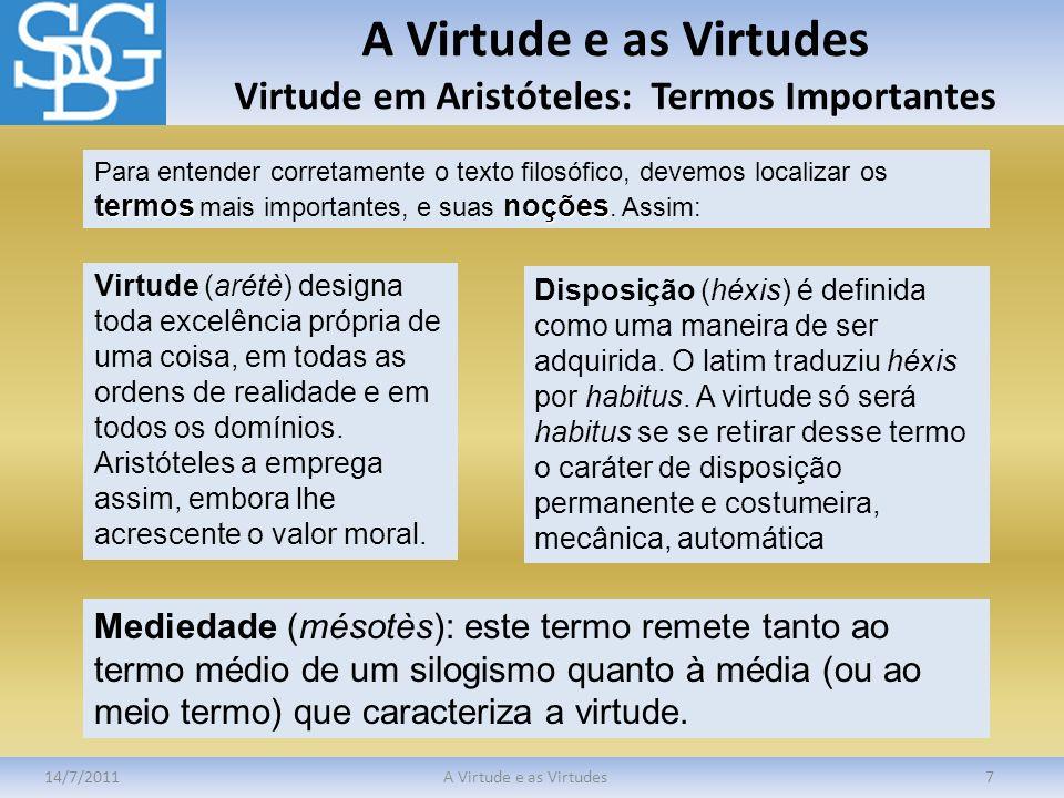 A Virtude e as Virtudes Virtude em Aristóteles: Termos Importantes 14/7/2011A Virtude e as Virtudes7 termosnoções Para entender corretamente o texto f