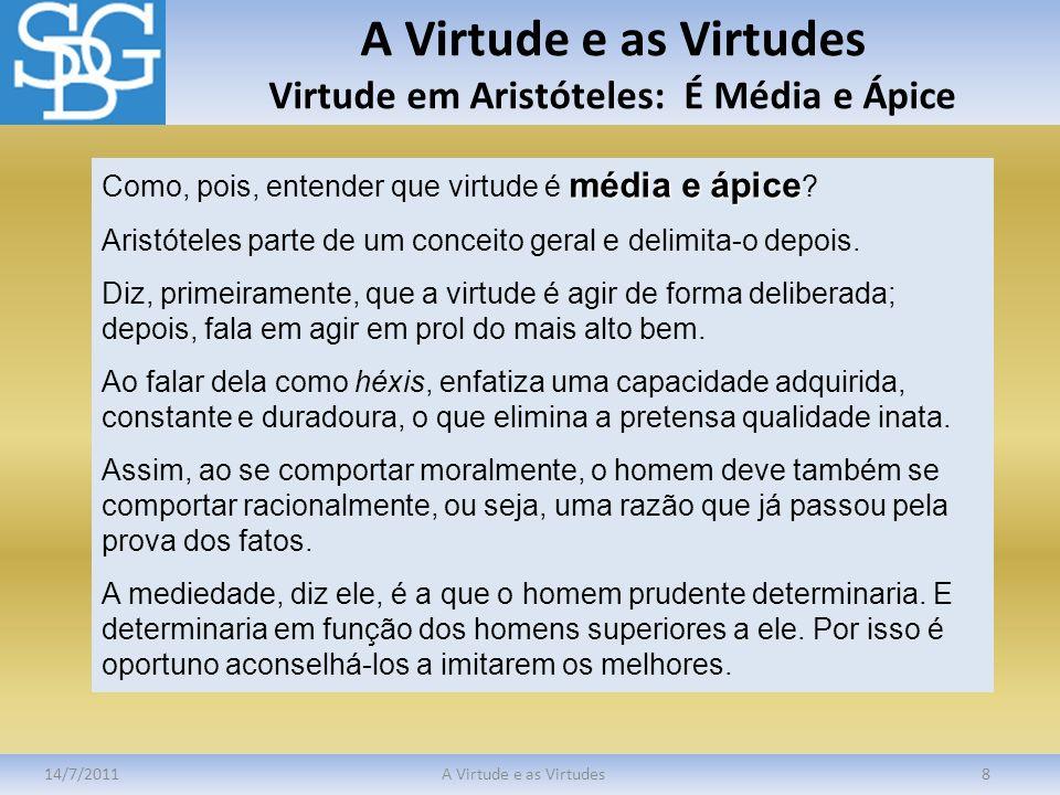 A Virtude e as Virtudes Virtude em Aristóteles: É Média e Ápice 14/7/2011A Virtude e as Virtudes8 média e ápice Como, pois, entender que virtude é méd