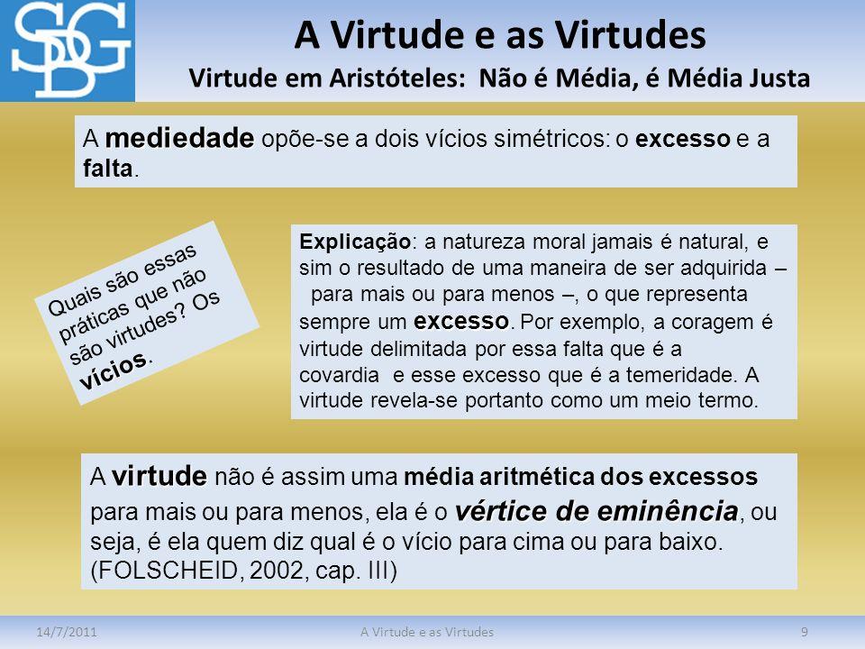 A Virtude e as Virtudes Virtude em Aristóteles: Não é Média, é Média Justa 14/7/2011A Virtude e as Virtudes9 mediedade A mediedade opõe-se a dois víci