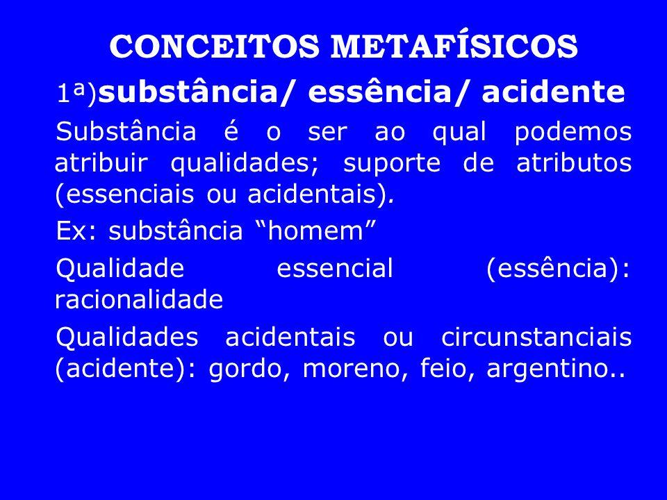 CONCEITOS METAFÍSICOS 1ª) substância/ essência/ acidente Substância é o ser ao qual podemos atribuir qualidades; suporte de atributos (essenciais ou a